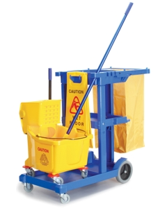 Janitorial sanitation kit, Includes: Cleaning cart, Wet floor sign, 9 gallon mop bucket and Jaw grip mop handle
