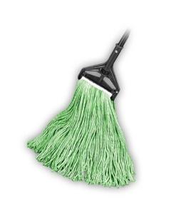 """Cut End Wet Mop, Cotton/Poly Blend, Green, 1-1/4"""" headband, #16 Medium"""