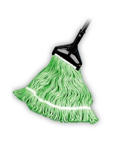 """Looped End Wet Mop, Green, 1-1/4"""" headband, #24 Large"""
