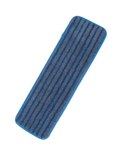 "18"" Heavy-duty microfiber mop pad with scrub strip, Blue"
