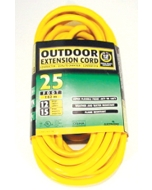 25' Extension Cord, 12/3 SJTW, Yellow