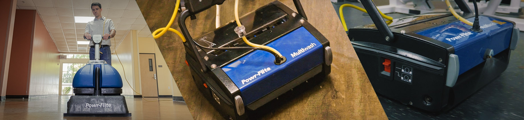 Powr-Flite powerful floor scrubbers. You'll love saving $25 off $250 this month!